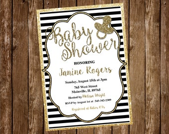 Black and Gold Baby Shower Invitation - Printable or Printed with FREE SHIPPING