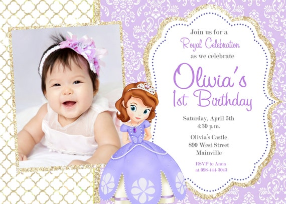 Marvelous Sofia The First Birthday Party Invitation Digital Or Printed | Etsy