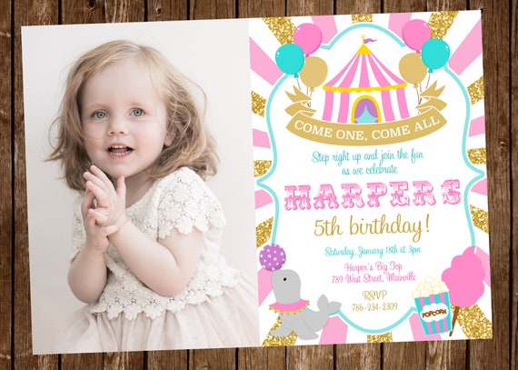 circus birthday invitation invite carnival big top girl etsy