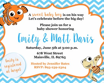 Finding Nemo, Fish, Under the Sea, Baby Shower Invitation, Baby Sprinkle, Party, First Birthday - Printable or Printed