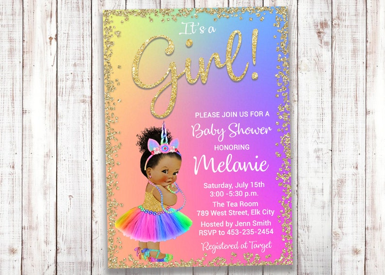 Unicorn Baby Shower Invitation, Unicorn Baby, Bright, Rainbow, Gold,  Unicorn Party, Unicorn Shower, ANY SKIN TONE, Digital or Printed