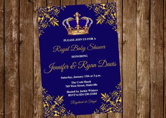 Prince Baby Shower Invitation Baby Shower Royal Baby Boy Etsy