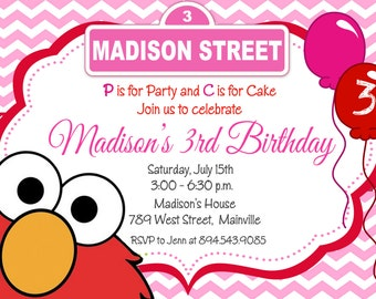 Elmo Girl Pink and Red Birthday Party Invitation - Digital or Printed