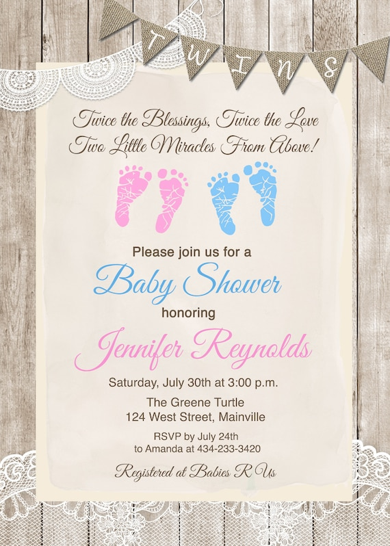 Twins Baby Shower Invitation Twins Boy Girl Baby Shower