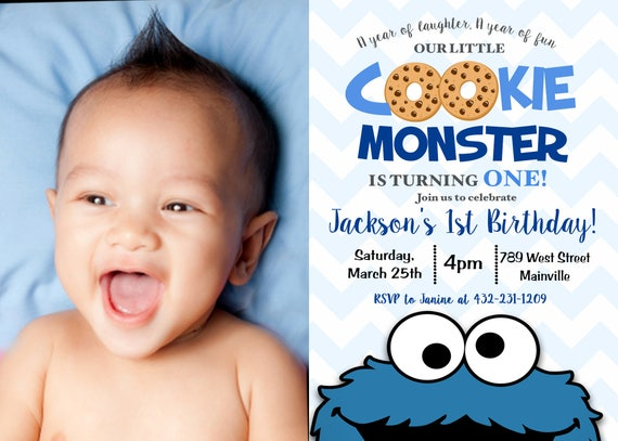 Cookie Monster First Birthday Invitation 1st Party Digital Or Printed