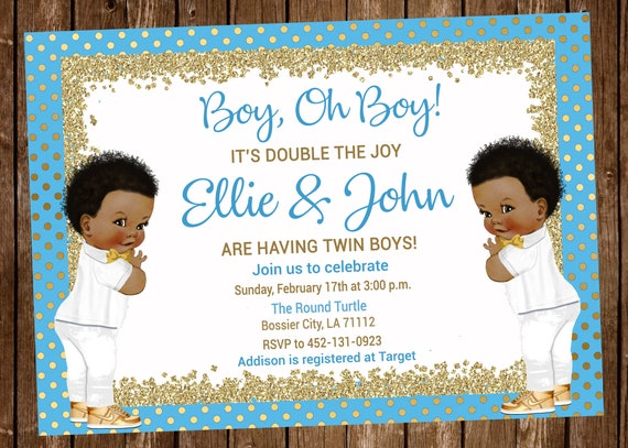 Twins Baby Shower Invitation Twin Boys Twins Boy Gold Etsy