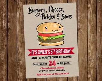 Burger, Cheeseburger Birthday Party Invitation, Cheeseburger, Birthday, Party, Invitation - Digital or Printed