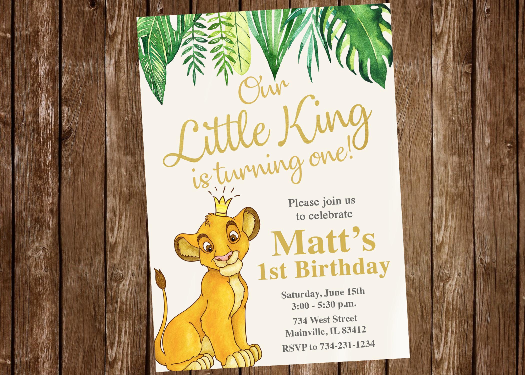 Lion king birthday invitation lion king gold jungle boy etsy zoom filmwisefo