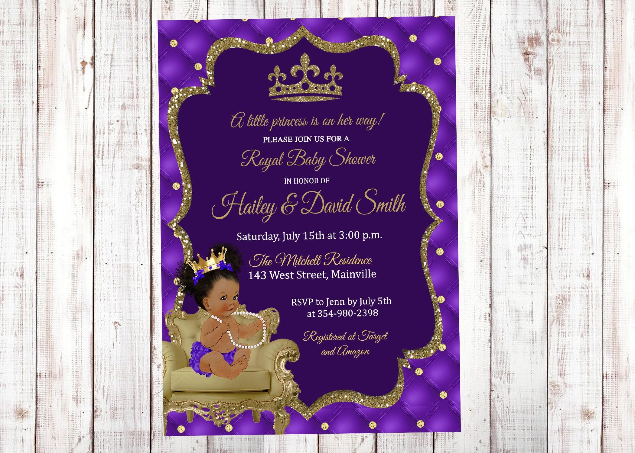 Princess Baby Shower Invitation Purple Lavender Gold   Etsy