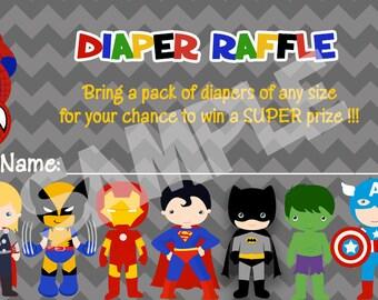 Superhero Baby Shower Diaper Raffle Ticket, Instant Download, Printable