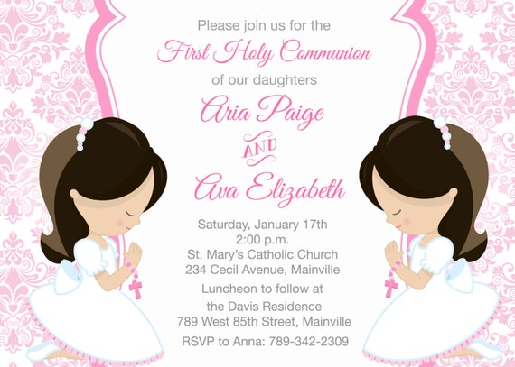 First Holy Communion Invitation For Siblings Twins Sisters Etsy