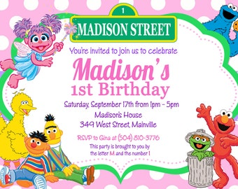 Sesame Street Birthday Party Invitation -  Digital or Printed