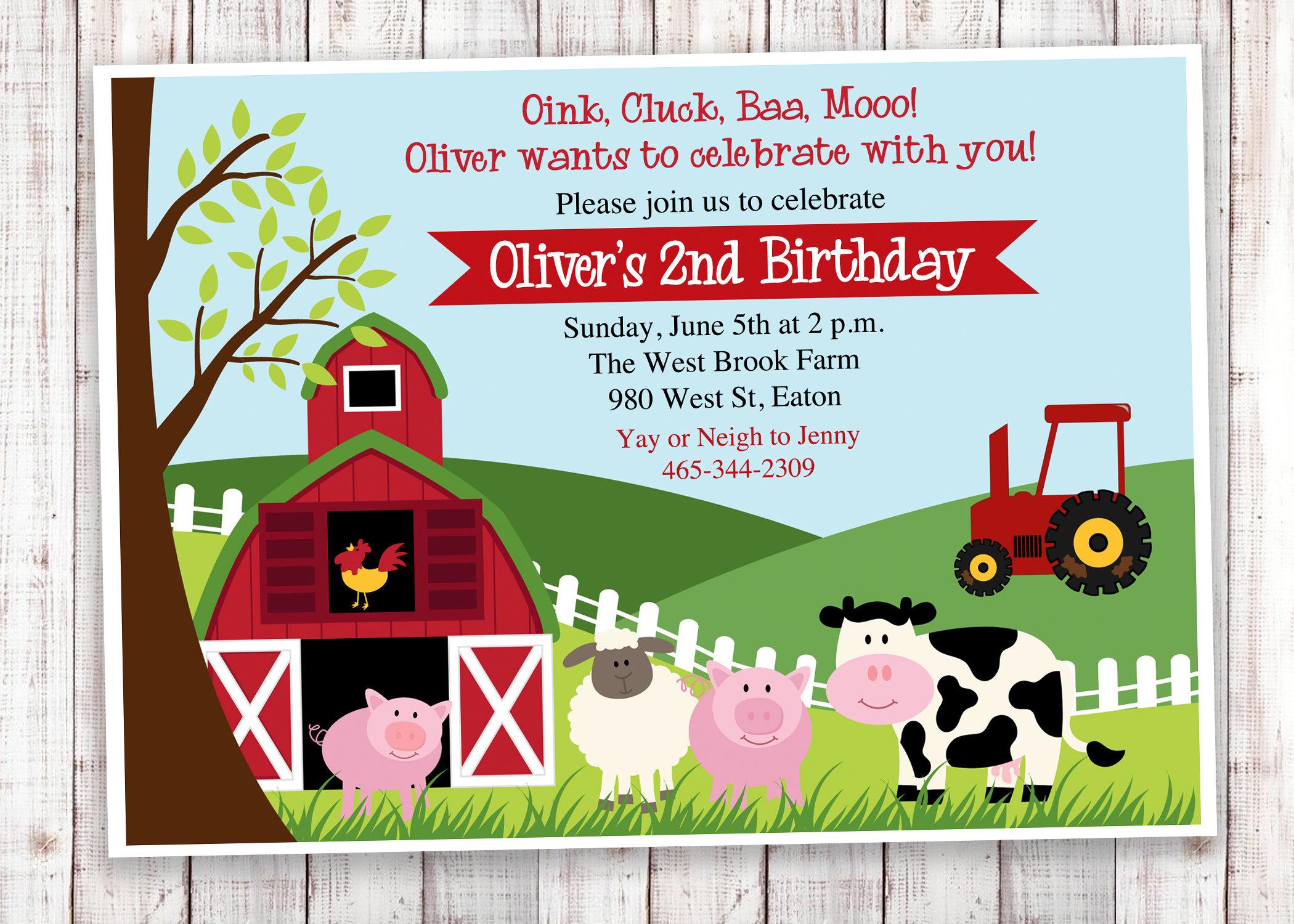 Farm Birthday Party Invitation Barnyard Petting Zoo