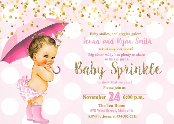 pink and gold baby sprinkle invitation baby girl sprinkle etsy