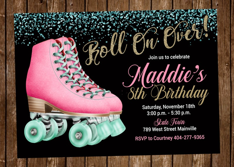 Roller Skate Birthday Party Invitation Skating Pink Black Gold Girl Digital Or Printed