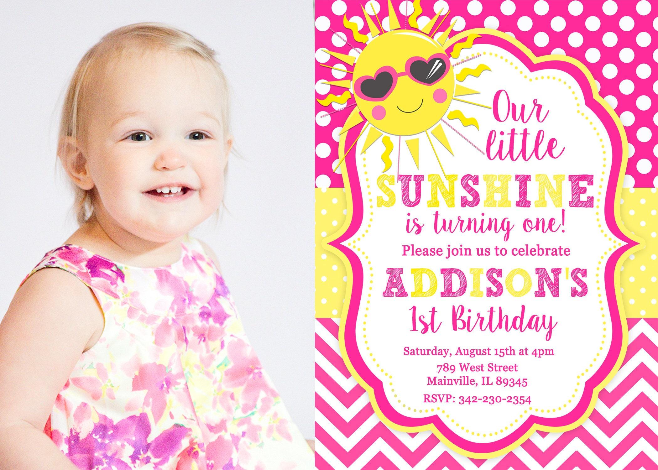 You are my Sunshine Sun Birthday Party Invitation Digital