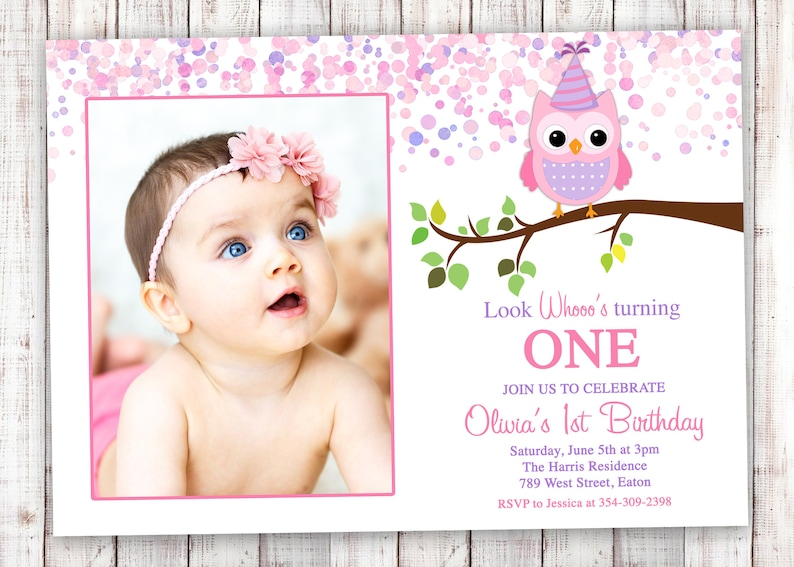 Owl 1st Birthday Invitation Girl First