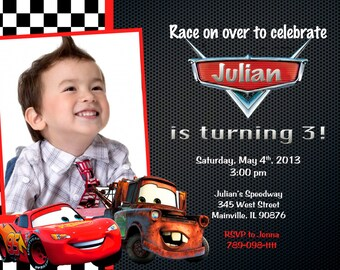 Disney Cars Lightning McQueen Mater Birthday Party Invitation - Printed or Printable