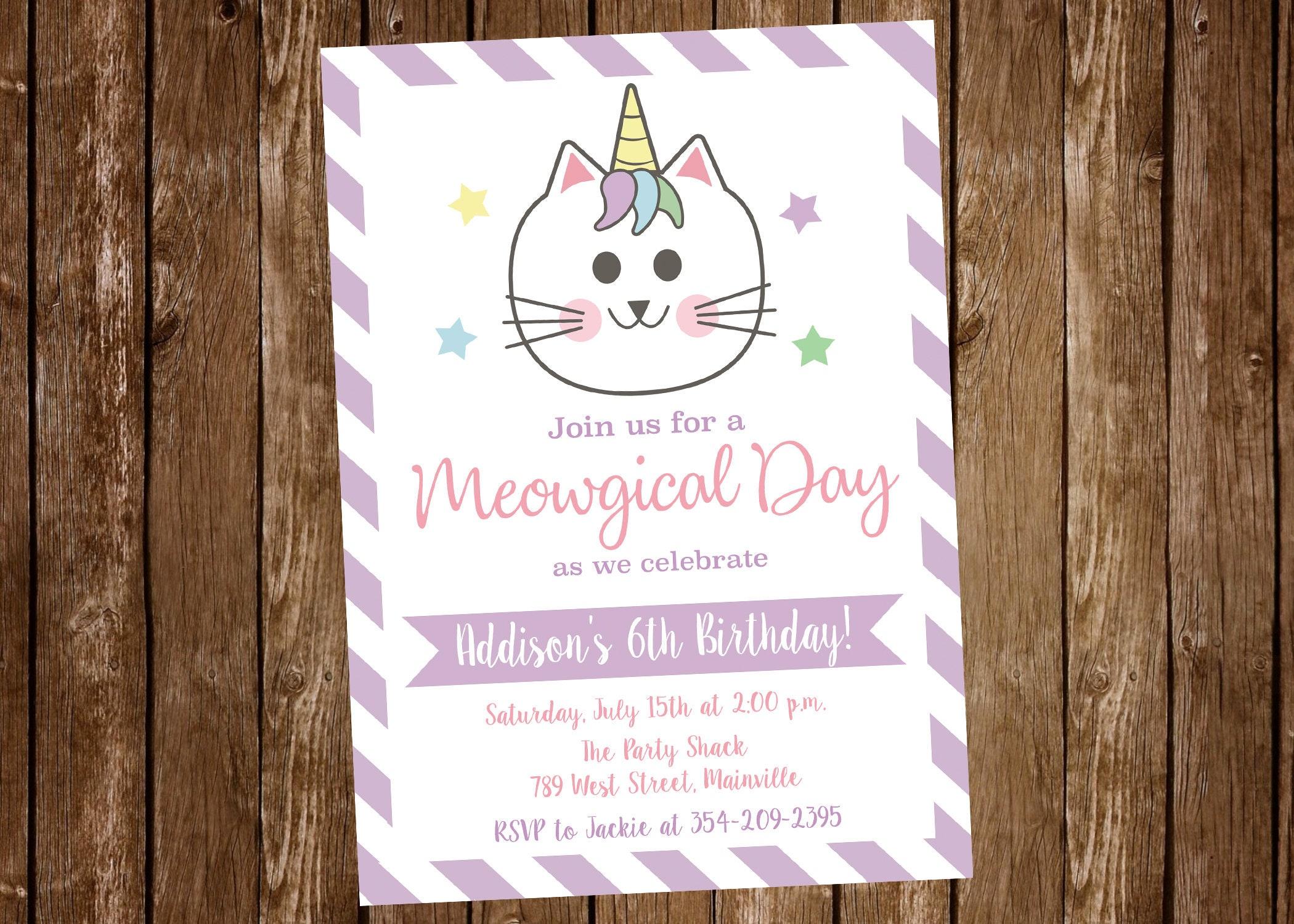 Caticorn Cat Unicorn Kitty Birthday Party Invitation | Etsy
