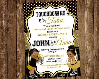 Football, Tutus, Princess, Ballerina, Invitation, Touchdowns or Tutus, Baby Shower, Gender Reveal, Gold, Black,, Digital or Printed