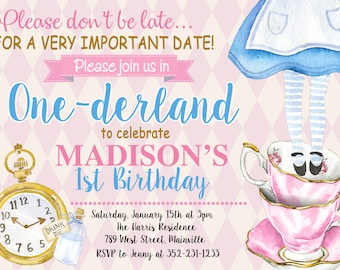 Alice in One-derland, Alice in Wonderland, First Birthday, One Year, Birthday Party, Invitation  -  Digital or Printed