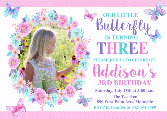 Butterfly Birthday Invitation Pink