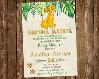 Lion King Baby Shower Invitation, Lion King, Gold, Jungle, Boy, Baby Shower,  Invitation   Digital Or Printed