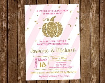 Pumpkin Baby Shower Invitation, Pink and Gold, Fall Baby Shower Invitation - Printable or Printed with FREE SHIPPING