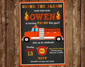 Fire Truck Birthday Party Invitation, Fire Truck, Fire, Fireman, Birthday, Party, Invitation - Digital or Printed with FREE SHIPPING
