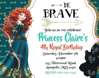 Brave, Princess Merida, Birthday Party Invitation - Printable or Printed