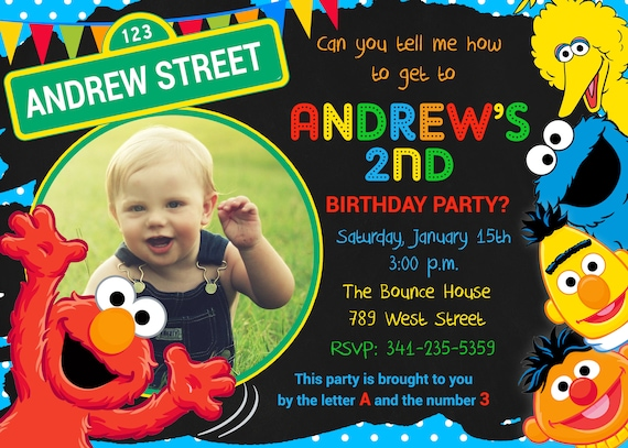 Sesame Street Birthday Party Invitation Elmo