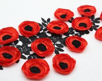 Red satin fabric poppy flowers 006c0299a