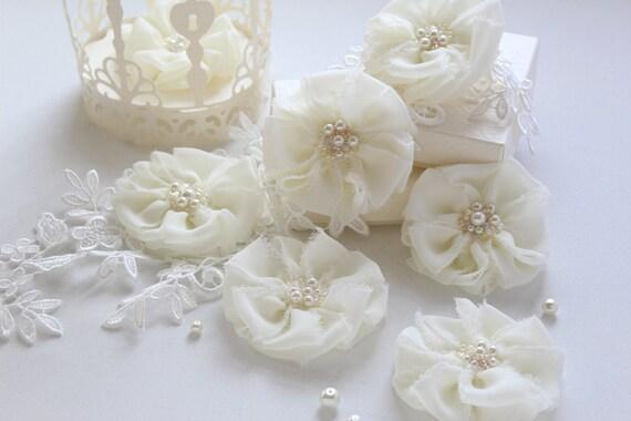 Frayed Fabric Flower Embellishments Wedding Reception Decor Etsy
