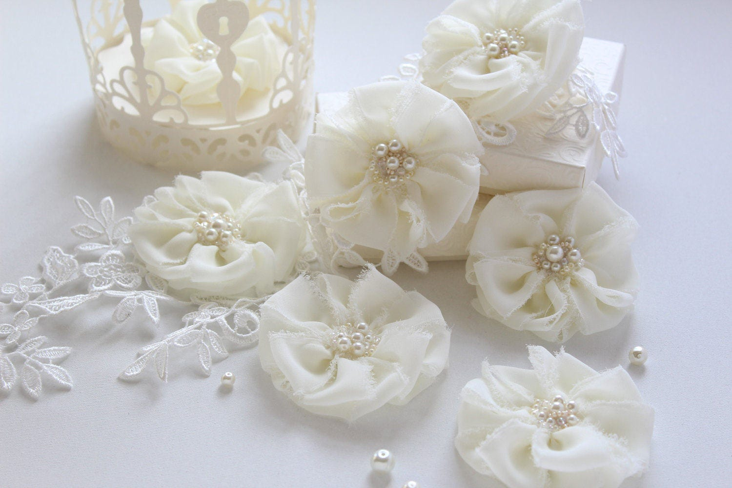 Frayed Fabric Flower Embellishments -Wedding Reception Decor -Table ...