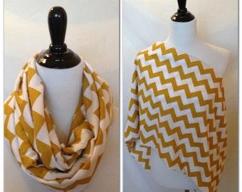 Nursing scarf- pick your finish! Gold chevron