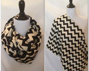 Nursing scarf- pick your finish! Black and cream chevron