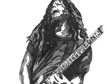 "Dimebag Darrell of Pantera, Guitar, Heavy Metal, Music, POSTER from Original Drawing 18"" x 24"" Signed & Dated by Artist BW"
