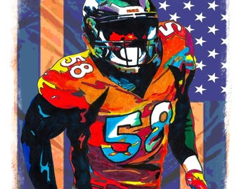 2a8e887a50daab Von Miller Denver Broncos NFL Football Sports Poster Print Wall Art 18x24  Signed Dated by Artist Greg Sellars