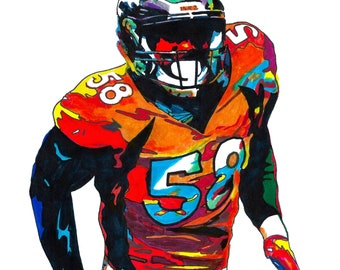 3870eeb42dd04b Von Miller Denver Broncos Linebacker NFL Football Sports Poster Print Wall  Art 18x24 Signed Dated by Artist Greg Sellars