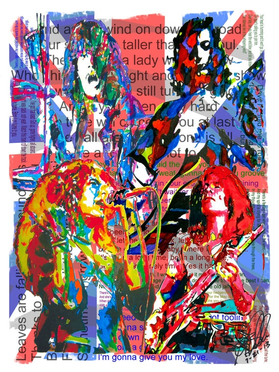 Signeddated Artist Wcoa Original PlantJohn ZeppelinJimmy X By 24 PageRobert 3 JonesBonham From Paul Poster Drawing 18 Led 29eWEDIYH