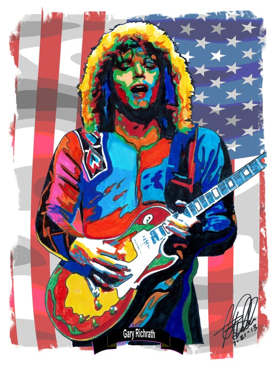 Gary Richrath REO Speedwagon Guitar Hard Rock Music Poster Print Wall Art  18x24 Signed Dated by Artist