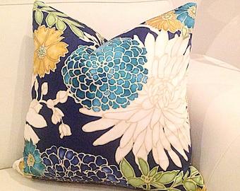 Blue Floral Cushions, Designer Pillows, Cushion Cover St Moritz Designer Cushions Scatter Cushions, Decorative Pillows Red and Black Pillows