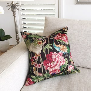 Black Cushions. Birds and Flowers Peace Garden Floral Pillows Green Cushions Vintage Style Floral Cushion Cover Pink Colourful Ivory