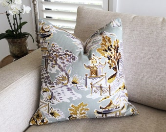 Taupe and Yellow Dragon Pillow Waverly