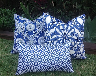 Blue And White Outdoor Cushions Pillow Covers Get Away Navy Etsy