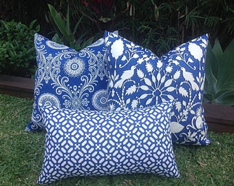 Outdoor Pillows, Outdoor Cushion Cover. Coastal Hamptonu0027s Style Blue And  Cream, Blue And White Cushions, Blue Outdoor Cushions Pillows