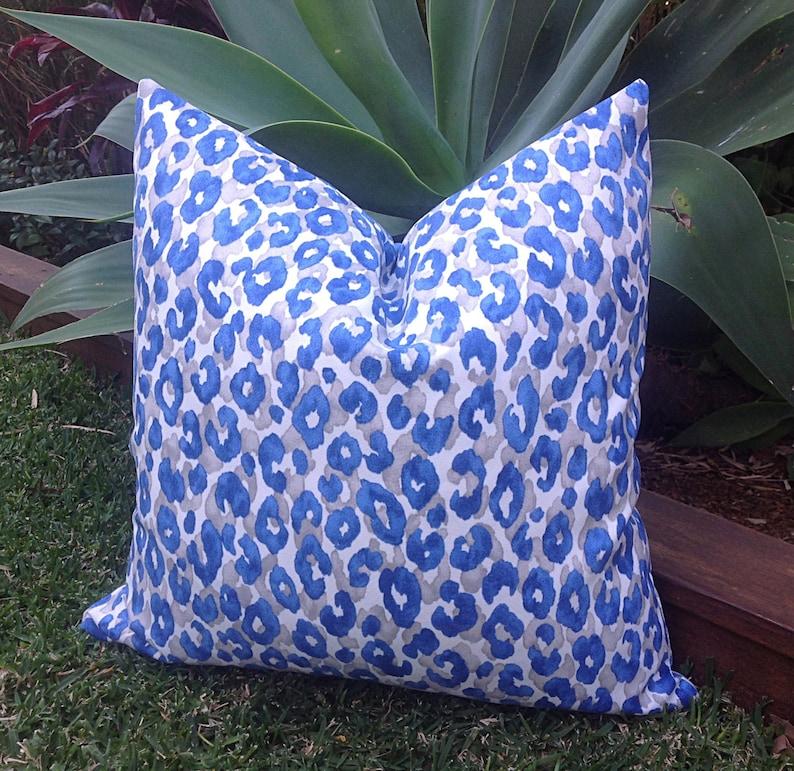 Leopard Print Outdoor Cushions Outdoor Pillows Blue Grey Outdoor Snow Leopard Decorative Scatter Cushions Modern Pillows Leopard Print