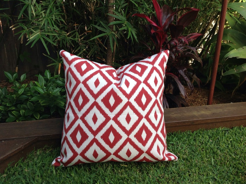 Red Outdoor Cushions Red And White Outdoor Pillows Geometric Etsy