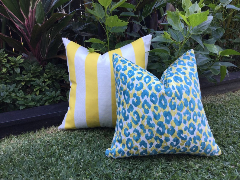 Leopard Print Outdoor Cushions Blue And Yellow Outdoor Pillows Teal Outdoor Decorative Scatter Cushions Modern Pillows Leopard Print