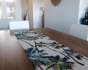 Table Runner Hawaiian Palms Tropical Coastal Classic. Sage Green, Cream, Black. Vintage Hawaiian Style. Beach House Decor